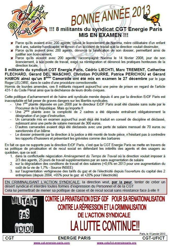CGT Energie - contre la répression et la criminalisation de l'action syndicale dans Energie energie1